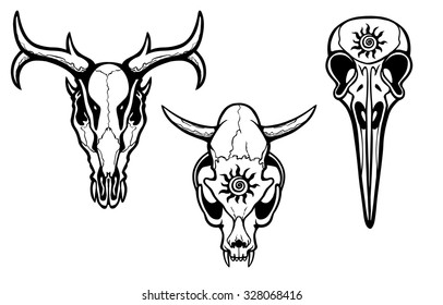 Group of stylized skulls of fantastic animals. Isolated on a transparent background.