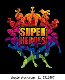 Group of Super Heroes action with text super heroes graphic vector