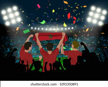 group of supporter hold Morocco flag among silhouette audience in soccer stadium in vector illustration. concept for football result template use in web or mobile phone application