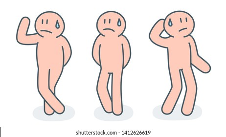 Group of sweating people with embarrassed and absurd look with emotion gestures  vector illustration