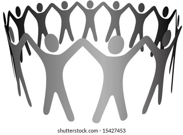 A group of Symbol People hold up arms to form  a circle, ring, chain of teamwork, cooperation, community, etc.