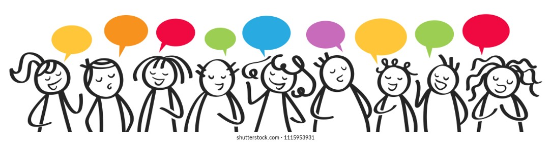 Group of talking stick figures, men and women with colorful speech balloons communicating, horizontal banner isolated on white background