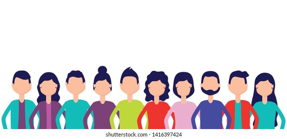 group team people figure on white background vector illustration