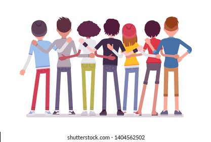 Group of teen friends rear view. Young people, teenager boys and girls standing together, adolescent unity. Vector flat style cartoon illustration isolated, white background, full length portrait