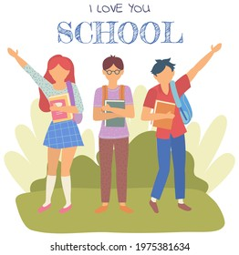 Group of teen pupils, happy friends classmates. School boys and girl students with backpacks and books, schoolchildren portrait. Student pupil teens studying and learning together in lovely school