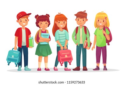 Group teen pupils. School boys and girls teens students with backpack and books, schoolchildren portrait. Kids primary student pupil studying smiling and learning together vector illustration