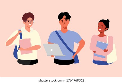 A group of teenagers diverse college or university students vector illustration. Happy Group of Students with Books and laptop on an Isolated Background. People and Education concept