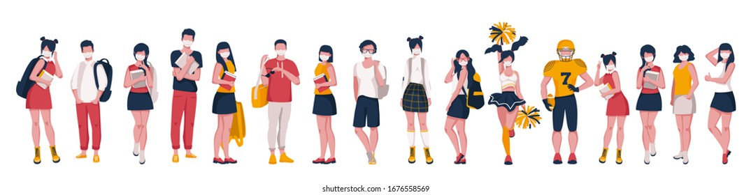A group of teenagers in medical masks with backpacks and books. Vector illustration on white background