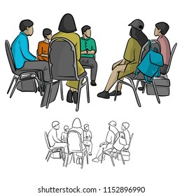 group of teenagers sitting in a circle during consultation with counselor vector illustration sketch doodle hand drawn with black lines isolated on white background