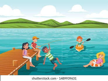 Group of teens jumping from wooden pier into the water. Kids having fun jumping in the lake water.