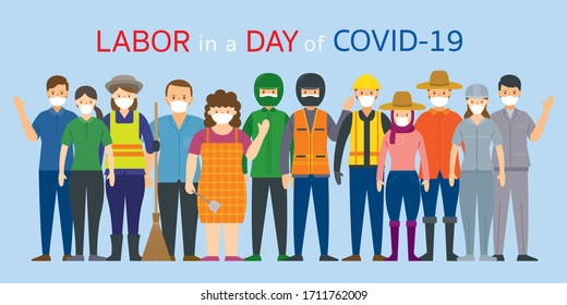 Group of Thai People Labor, Worker Wearing Face Mask, Prevention of Covid-19, Coronavirus Disease,