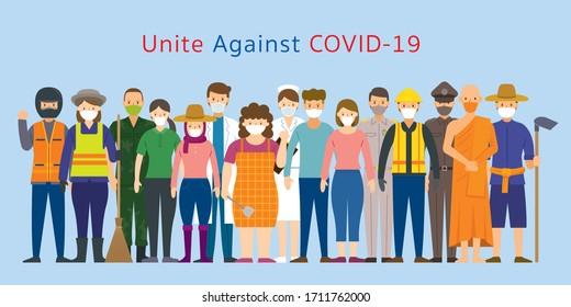 Gruppe thailändischer Menschen Verschiedene Berufe, die Gesichtsmaske tragen, Prävention, Vereinigung gegen Covid-19, Coronavirus-Krankheit,