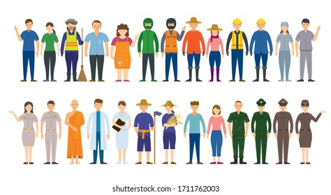 Group of Thai People Various Professions and Occupations, Career, Worker, Labor and Government Officer