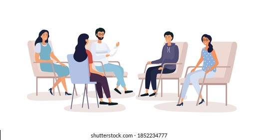 Group therapy for addiction treatment concept with various people sitting in armchairs and talking in psychologist office, flat cartoon vector illustration isolated on white background