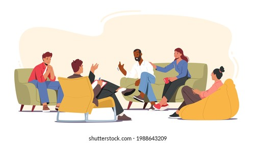 Group Therapy Addiction Treatment Concept. Characters Counseling with Psychologist on Psychotherapist Session. Doctor Psychologist Counseling with Diseased Patients. Cartoon People Vector Illustration
