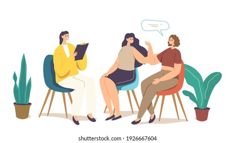 Group Therapy, Psychotherapeutic Meeting, Psychological Aid for Women. Female Characters Sit on Chairs in Circle and Talking to Each Other with Doctor Assistance. Cartoon People Vector Illustration