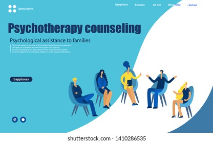 Group therapy session, psychotherapeutic meeting or psychological aid.Men and women sitting on chairs and talking to psychotherapist or psychologist. Vector illustration.web, mobile app, poster, bann