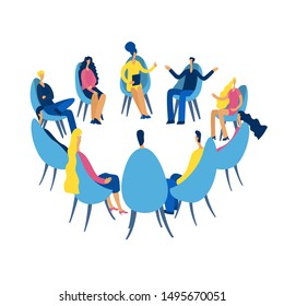 Group therapy session, psychotherapeutic meeting or psychological aid.Men and women sitting in a circle.on chairs and talking to psychotherapist or psychologist. Vector illustration