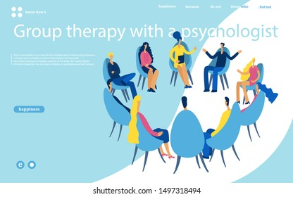 Group therapy session, psychotherapeutic meeting or psychological aid.Men and women sitting on chairs and talking to psychotherapist or psychologist. Vector illustration.