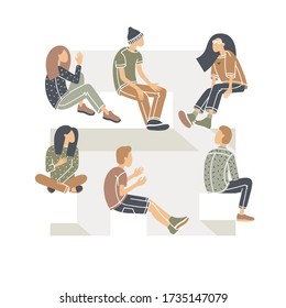 Group therapy session, psychotherapeutic meeting. Men and women, people sitting in a circle. Treatment of stress, addictions and mental problems. Gestalt psychology. Isolated vector illustration.