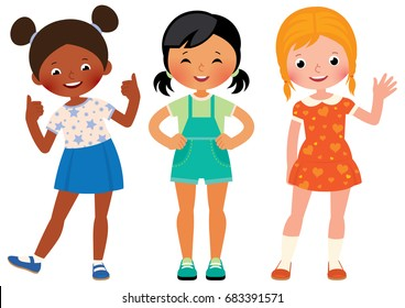Group three children girlfriends of different nationalities African American Asian and Caucasian vector cartoon illustration
