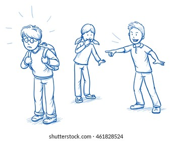 Group of three children with school boy being bullied. Hand drawn cartoon doodle vector illustration.
