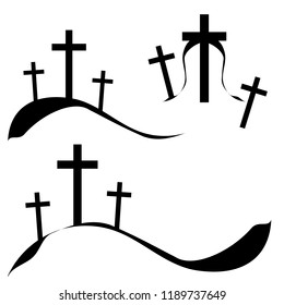 Group of three crucifix, christian cross on calvary or golgotha for tattoo or any creative idea