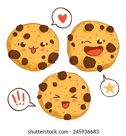 Group of three cute kawaii cookies with chocolate chips. Good for t-shirt design.