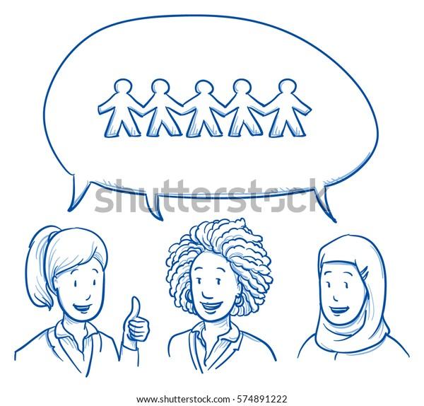 Gruppe von drei verschiedenen ethnischen Gruppen lächeln von Solidarität mit positiven Ausdrücken, Emotionen und Gesten in der Geschäftskleidung. Handgezeichnete Linie Art Cartoon Vektorgrafik.
