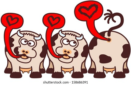 Group of three funny cows expressing their feelings about love by singing, one of them is turned back and showing its disappointment by farting a distorted musical note inside a speech balloon