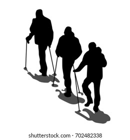 Group of three light-handed mountaineers with trekking poles walking upward in the snow. Black vector silhouettes with dark gray short noonday shades