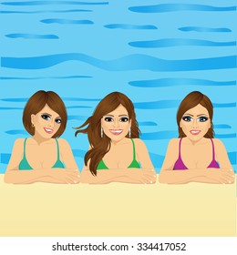 group of three young women in swimming pool with positive smiling face expression
