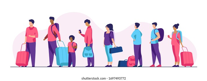 Group of tourist with luggage standing in line. Men, women, kid holding their bags and suitcases Vector illustration for trip, airport, travel, queue concept