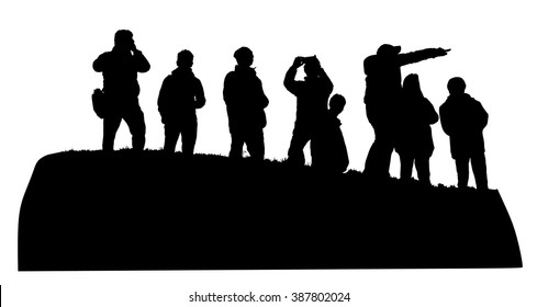 Group of tourist on the top of the hill vector silhouette illustration isolated. People traveling and having a rest. Hikers travelers with camera enjoying view from mountain. Rescue team observers.