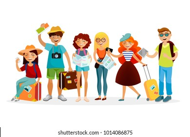 Group of tourists cartoon characters vector flat illustration. Young funny people with suitcases are traveling together.