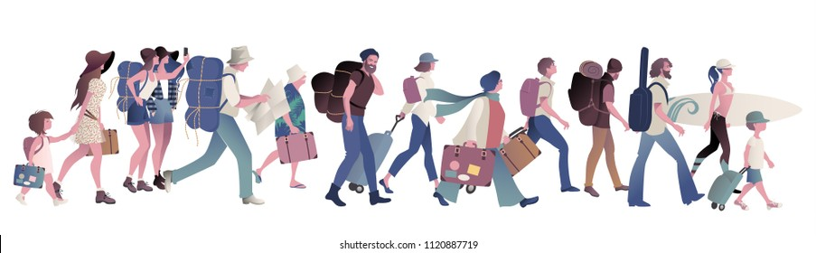 Group of tourists walking carrying suitcases, backpacks, map, guitar, and surfboard. Young, elderly, families, children, isolated on white background.