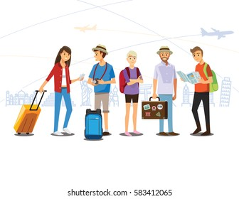 Group of Traveler  People ,Vector illustration cartoon character