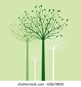 Group of Trees and Green Leafs. Vector Illustration.