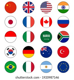 Group of Twenty (20) or G20 Flag Icon Set Vector Circle push buttons for global political cooperation and diplomacy.