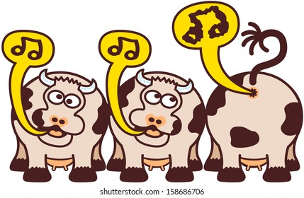 Group of two cute enthusiastic cows and a capricious and headstrong one while singing and farting by showing musical notes inside speech balloons