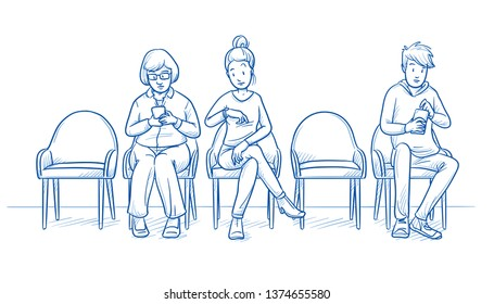 Group of two women and one young man sitting in a waiting room. Two chairs are empty. Hand drawn line art cartoon vector illustration.