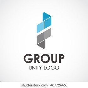 Group unity of geometry ribbon abstract vector and logo design or template alliance business icon of company identity symbol concept