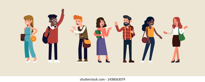 Group of university or college students in debate. Flat vector illustration on society with diverse multiracial men and women having a conversation. Talking characters set