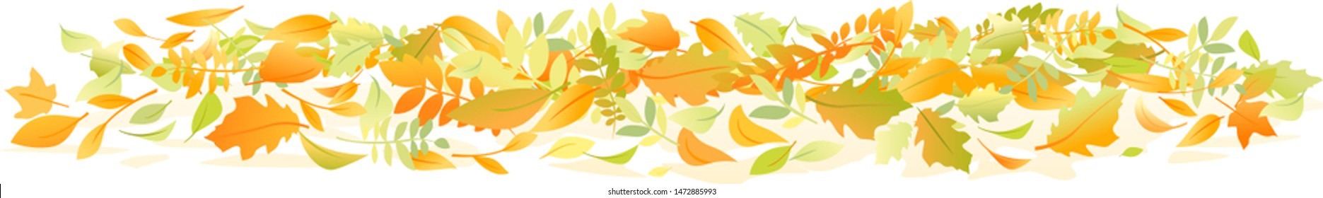 Group of various autumn fallen leaves in red and orange colors lying on ground isolated, dump of different leaves, autumn concept illustration clipart
