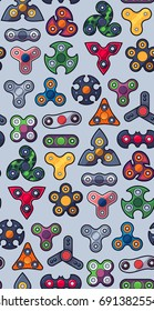 group of various spinners type, seamless pattern, cartoon style vector illustration.