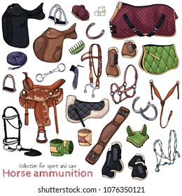 Group of vector colorful illustrations on the theme horse ammunition; set of isolated objects for equestrian sport and care. Pictures contain realistic shadows and glare.
