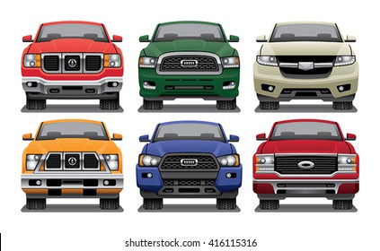 Group of vector drawings of the fronts of modern pickup trucks.