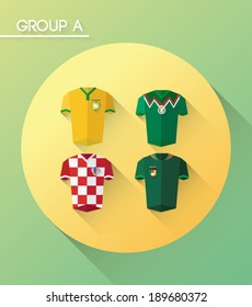 Group a vector with jerseys on green background