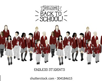 Group of vector students from high and elementary school. Boys and girls going to school. Seamless border. Each character can be separated from other (need to ungroup). Easy to change color