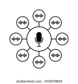 group voice chat or podcast chatroom. flat outline style trend modern graphic art design element isolated on white. concept of popular method of exchanging messages and thoughts in web or internet